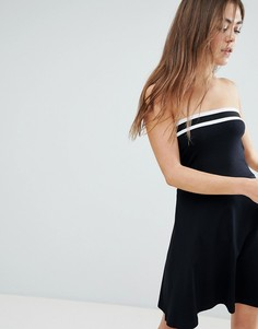 Короткое приталенное платье-бандо с полосками ASOS DESIGN - Черный