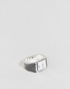 Кольцо с квадратным камнем Icon Brand - Серебряный