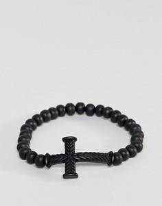 Черный браслет из бусин с крестиком Icon Brand - Черный