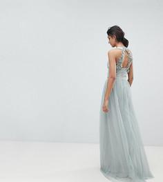 Платье макси с запахом и кружевной аппликацией на спине Little Mistress Tall - Зеленый
