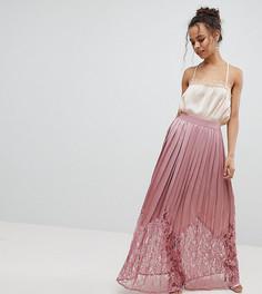 Плиссированная юбка макси с кружевом Little Mistress Petite - Розовый