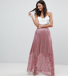 Кружевная плиссированная юбка макси Little Mistress Tall - Розовый