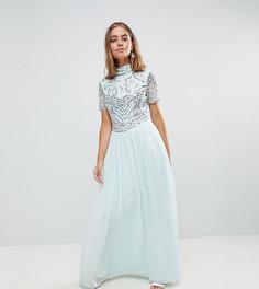 Премиум-платье макси с декорированным топом Frock And Frill Petite - Синий
