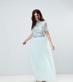 Премиум-платье макси с декорированным топом Frock And Frill Plus - Синий