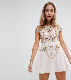 Короткое приталенное платье мини с отделкой Frock And Frill Petite Premium - Розовый