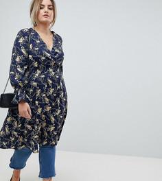 Чайное платье с цветочным принтом и запахом Lovedrobe - Мульти