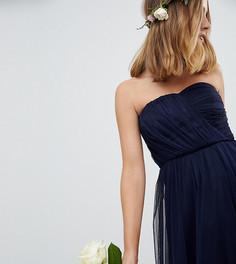 Платье-бандо миди из тюля ASOS DESIGN Petite Bridesmaid - Темно-синий