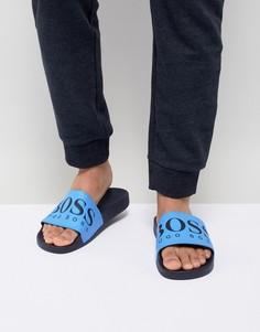 Темно-синие шлепанцы с логотипом BOSS - Темно-синий
