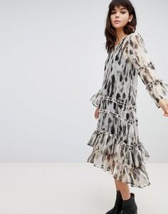 Свободное платье с оборками Religion - Серый