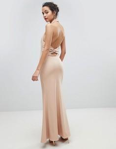 Платье макси с открытой спиной и высоким воротом Jarlo - Розовый