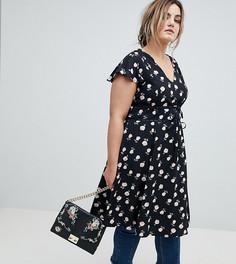 Чайное платье миди с завязками и цветочным принтом Lovedrobe - Мульти