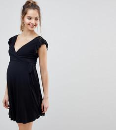 Сарафан с оборками на рукавах и запахом ASOS DESIGN Maternity - Черный