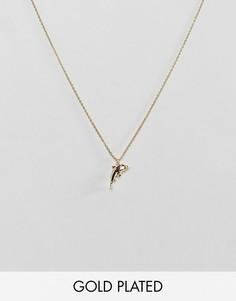 Позолоченное ожерелье с подвеской в виде дельфина Orelia - Золотой