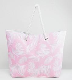 Розовая пляжная сумка с принтом листьев South Beach - Розовый