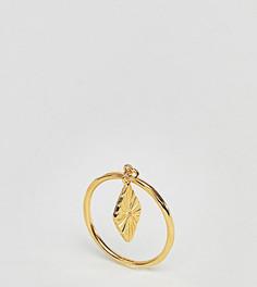 Кольцо из позолоченного серебра с гравированной ромбовидной подвеской ASOS DESIGN - Золотой