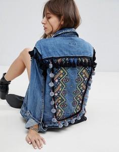 Джинсовая куртка бойфренда с отделкой на плечах Signature 8 - Синий