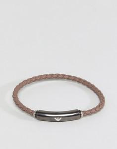 Коричневый кожаный браслет Emporio Armani - Коричневый