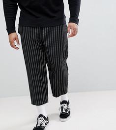 Свободные укороченные брюки в полоску Reclaimed Vintage Inspired PLUS - Черный
