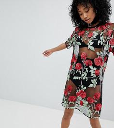 Свободное платье-футболка в сеточку с принтом роз One Above Another - Черный