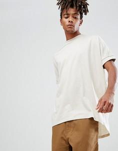 Бежевая оверсайз-футболка с манжетами в рубчик и ступенчатым краем ASOS DESIGN - Бежевый