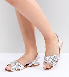 Кожаные летние туфли для широкой стопы ASOS DESIGN Juna - Серебряный