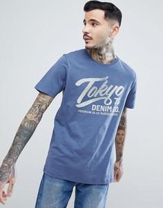 Премиум-футболка с винтажным принтом Jack & Jones - Темно-синий