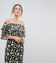 Платье мини с вышивкой и ярусной отделкой Dolly & Delicious Tall - Мульти