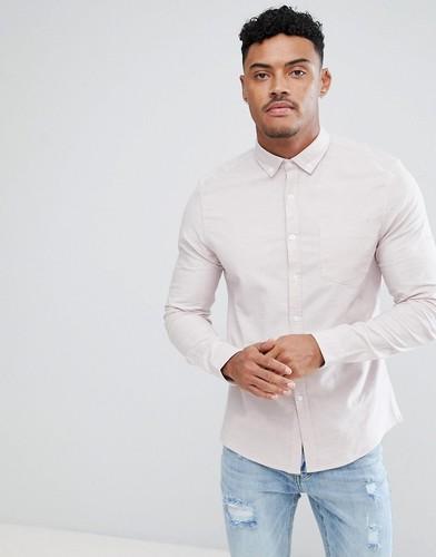 Розовая приталенная оксфордская рубашка ASOS - Розовый