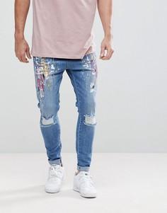Облегающие джинсы с рваной отделкой, эффектом брызг краски и заниженным шаговым швом SikSilk - Синий