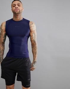 Темно-синяя компрессионная футболка без рукавов со вставками ASOS 4505 - Темно-синий