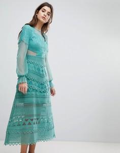 Кружевное платье миди с рукавами-колокол Three Floor - Зеленый