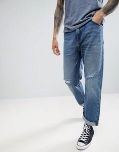 Укороченные джинсы с рваными коленями Lee - Синий