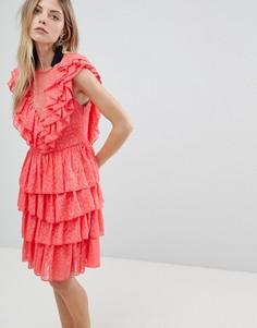 Платье мини с оборкой и шнуровкой Y.A.S - Белый