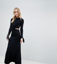 Платье макси с длинными рукавами и вырезами ASOS DESIGN Tall - Черный