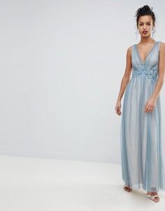 Платье макси из тюля с вышивкой Little Mistress - Синий