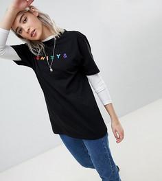 Свободная футболка с вышивкой ASOS x GLAAD - Черный