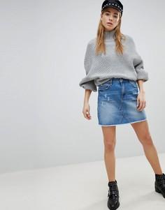 Потертая джинсовая мини-юбка Pimkie - Синий