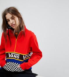 Куртка колор блок с короткой молнией и шахматным принтом на кармане эксклюзивно для Vans - Красный