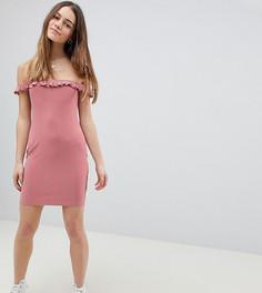 Платье мини в рубчик с широким вырезом и оборкой ASOS DESIGN Petite - Розовый