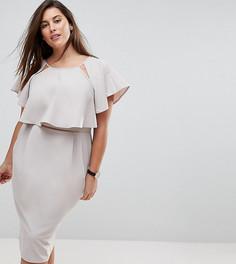 Двухслойное платье миди ASOS CURVE - Серый