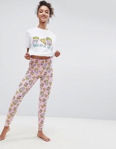 Пижама с футболкой и леггинсами ASOS Hands off my Carbs - Мульти