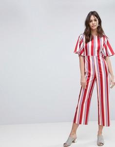 Строгий комбинезон в полоску Fashion Union - Красный