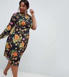 Платье миди на одно плечо с цветочным принтом ASOS DESIGN Curve - Мульти