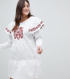 Свободное платье с вышивкой и оборками на плечах Fashion Union Plus - Белый