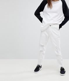 Джинсы в винтажном стиле с дырками на коленях Noisy May - Белый