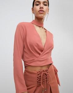 Блузка с запахом и чокером Parallel Lines - Коричневый