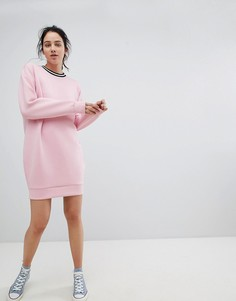 Трикотажное платье-кокон с отделкой в рубчик ASOS DESIGN - Розовый