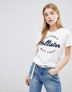 Футболка в винтажном стиле с логотипом Hollister - Синий