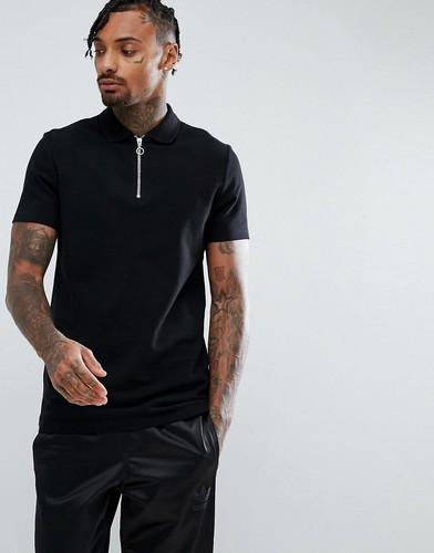 Черная футболка-поло из пике с молнией ASOS DESIGN - Черный