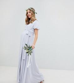Платье макси с запахом, поясом и пышными рукавами TFNC Maternity - Серый
